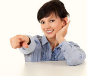 Young woman pointing on you — Stock Photo