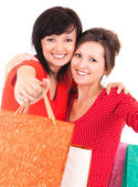 Two attractive girl after shopping — Stock Photo