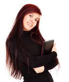 Student girl holding laptop — Stockfoto