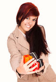 Beautiful young woman with present boxes — Stock Photo