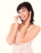 Happy young woman speaking on the phone — Stock Photo