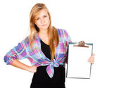 Angry girl with a clipboard — Stock Photo