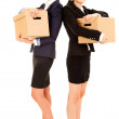 Two happy young business women with carton boxes, standing and s — Stock Photo