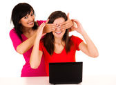 Young women studying with the laptop — Stock Photo
