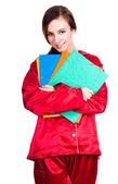 Student woman in red pyjamas — Stock Photo