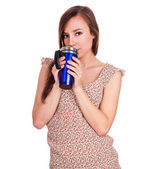 Beautiful young woman with hot drink — Stock Photo