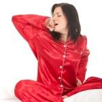 Woman in red pajamas — Stock Photo #4875006