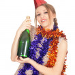 Woman with bottle of champagne — Stock Photo #4875093