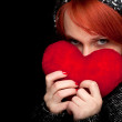 Woman in winter clothes with red heart — Stock Photo #4953496