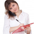 Young woman with clipboard — Stock Photo #5465069
