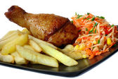 Fried chicken leg with french fries — Stock Photo