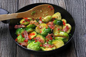 Brussels sprouts with bacon — Stock Photo