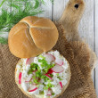Royalty-Free Stock Photo: Sandwich with cottage cheese and radish