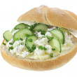 Sandwich with cottage cheese and cucumber  — Stock Photo