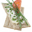 Royalty-Free Stock Photo: Crisp bread with cottage cheese tomato and chives