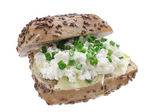 Sandwich with cottage cheese and chives — Stock Photo
