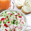 Cottage cheese with radish — Stock Photo