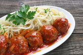 Pork meatballs with tomato sauce — Stock Photo