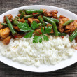Stock Photo: Chicken meat with green beans and rice