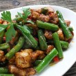 Fried chicken meat with green beans — Stock Photo
