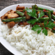 Chicken meat with green beans and rice — Stock Photo