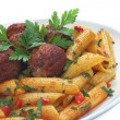 Stock Photo: Fried pork meatballs with pasta