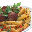 Fried pork meatballs with pasta — Stock Photo #33696027