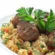 Fried pork meatballs with rice — Stock Photo