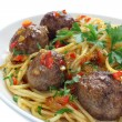 Fried pork meatballs with pasta — Stock Photo #34213057