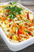 Salad with fresh cabbage,corn,apple and carrots — Foto Stock