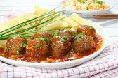 Albóndigas de carne de cerdo con pasta — Foto de Stock