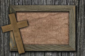 Background made of wooden planks and old canvas — Stock Photo