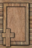 Background made of wooden planks and canvas — Stock Photo