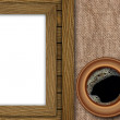 Stock Photo: Background made of wooden planks,cup coffee and old canvas
