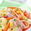 Stock Photo: Salad with ham, paprika, corn and cheese