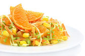 Salad with cabbage, carrots, mandarin and sweet corn — Stock Photo