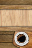 Background made of planks and cup coffee — Stock fotografie