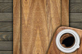 Background made of planks and cup coffee — 图库照片