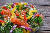 Salad with curly kale, paprika, tomato,broccoli sprouts and onions — Stock Photo