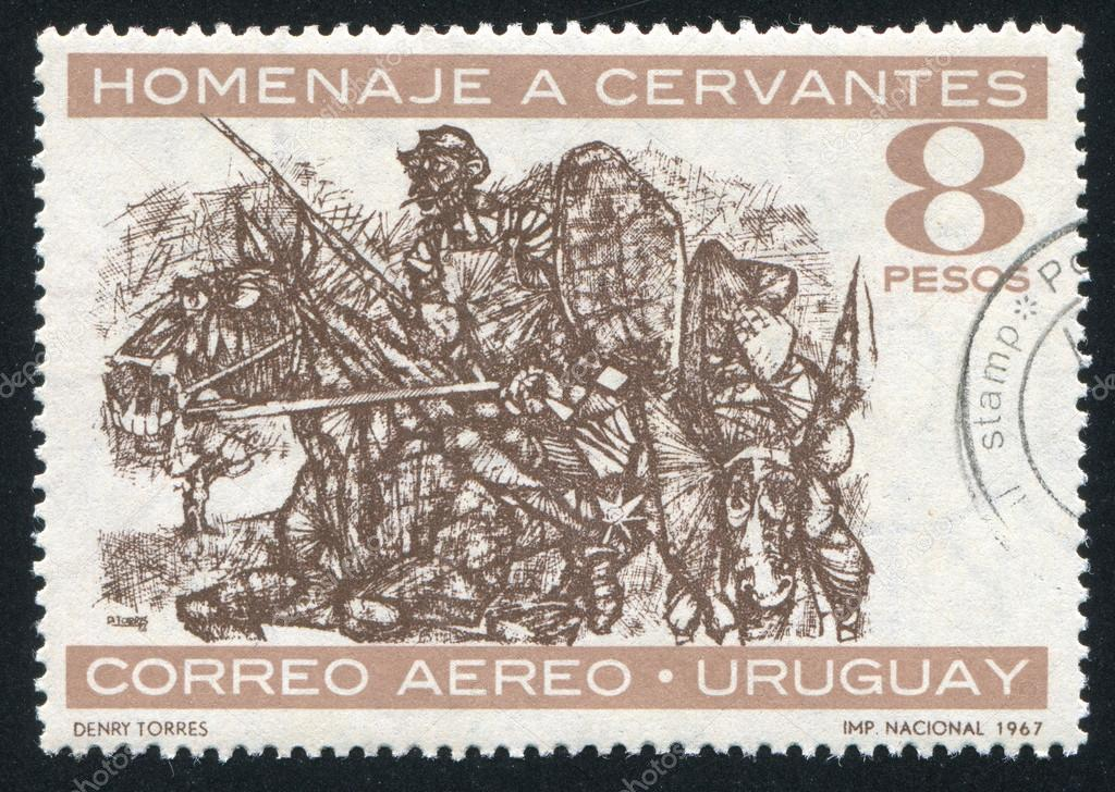URUGUAY - CIRCA 1967: stamp printed by Uruguay, shows Don Quixote and Sancho Panza, Painted by Denry Torres, circa 1967  Stock Photo #12133861