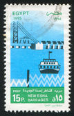 Stamp printed by Egypt boat — Stock Photo