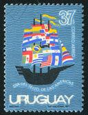 Bayrakları ile gemi — Stok fotoğraf