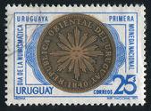Première pièce de monnaie de l'uruguay — Photo