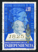 URUGUAY - CIRCA 1975: stamp printed by Uruguay, shows Artigas as Old and Young Man, circa 1975 — Stock Photo