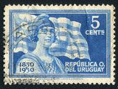 Frihet och flagga uruguay — Stockfoto