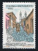 Rua de paralelepípedos em colonia del sacramento — Foto Stock