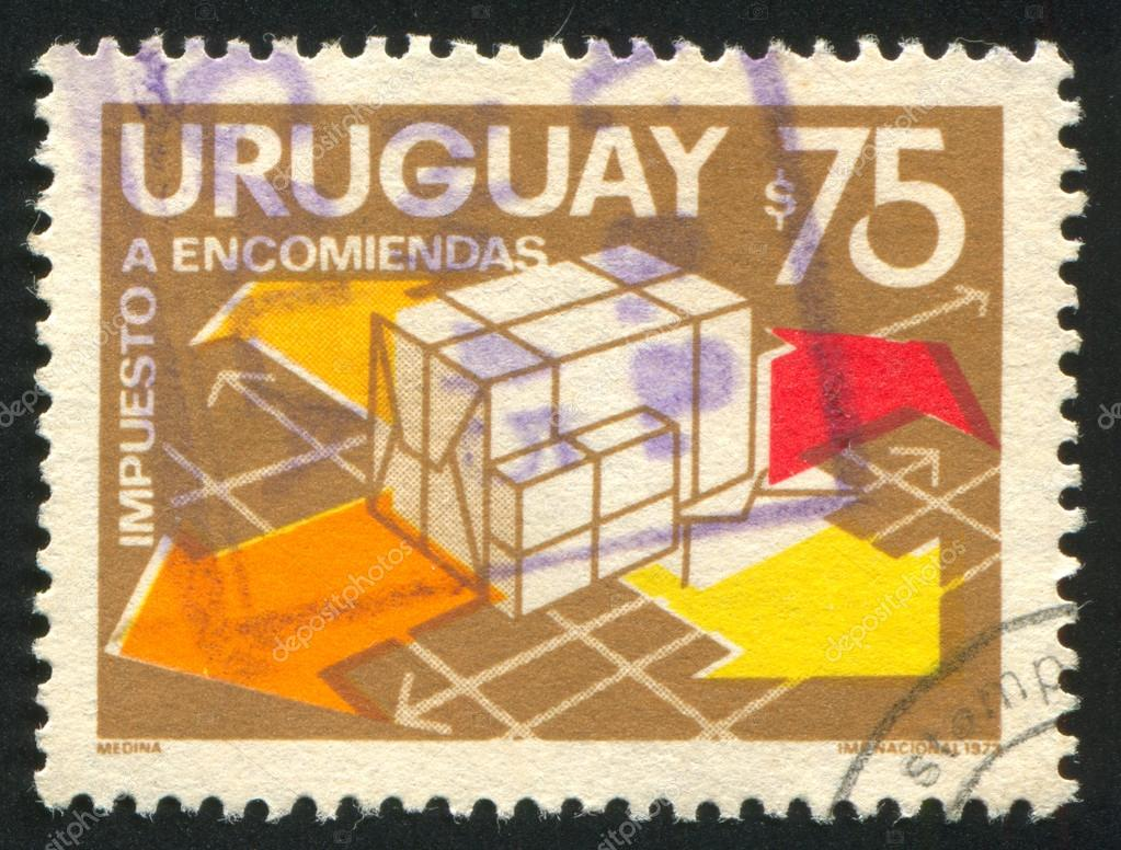 FINLAND - CIRCA 1974: stamp printed by Finland, shows Parcels and Arrows, circa 1974  Stock Photo #13192915
