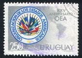 Emblema de la oea y el mapa de las américas — Foto de Stock