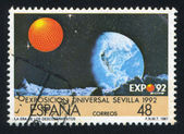 Earth stamp printed by Spain — Stock Photo