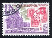 Plaza Mayor and Spanish Stamps — Stock Photo